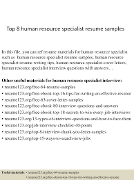 Human Resource Specialist Resume Resume For Your Job Application
