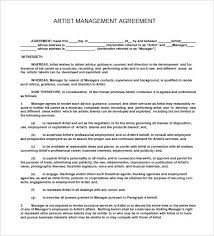 Music Contract Artist Contract Template Music Contract Templates Free Word