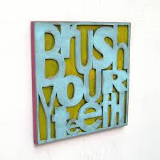Boy Bathroom Sign Brush Your Teeth Sign Blue Boy Bathroom Symbol Bathroom Decor