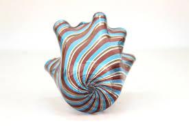 mid century modern murano glass handkerchief vase in blue purple and gold bottom