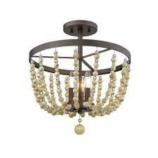 victoria three light semi flush ceiling mount rubbed bronze