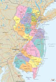 map of state of new jersey with outline of the state cities