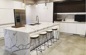 take the plunge quartz countertops with waterfall edges