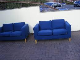 ikea karlanda 2 x 2 seater sofas in blue bemz slipcovers