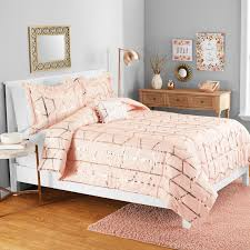 rose gold metallic print comforter set decor