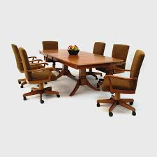 leather dining chairs with casters. Leather Swivel Dining Room Chairs Casters With