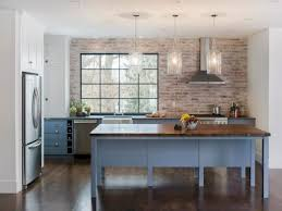 Red Brick Flooring Kitchen Brick Kitchen Countertops Rectangle Brown Varnished Wooden Kitchen