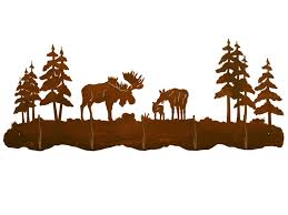 Moose Coat Rack Moose Family and Pine Trees Scenic Five Hook Metal Wall Coat Rack 60