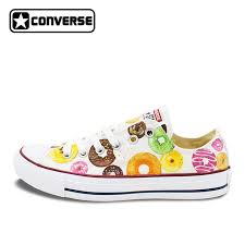 low converse shoes for girls. low top donut original design converse all star women men shoes hand painted girls boys for i