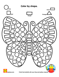 Color By Shape Butterfly Printable | Butterfly, Shapes and Math
