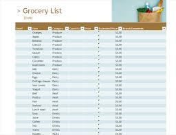 Grocery List Prices Grocery List