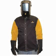 sparcweld weldlite jacket with leather sleeves black gold