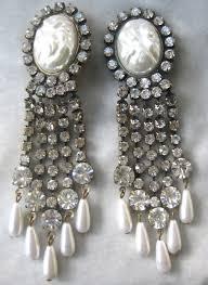 clear pearlhandelier pendant light earrings gold swing bridal vintage home lighting pearl chandelier