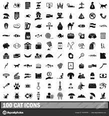 100 猫シンプルなスタイルのアイコンを設定 ストックベクター