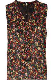 Pussy bow floral print silk chiffon top Anna Sui US THE OUTNET
