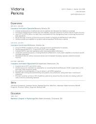 I want to hire i want to work. Insurance Verification Specialist Resume Examples And Tips Zippia