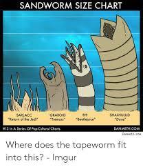 Pop Fit Size Chart Sandworm Size Chart Sarlacc Graboid Tremors Shai Hulud