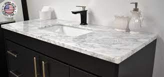 Capri 48 Modern Bathroom Vanity With Carrara Marble Top And Brushed Nickel Edge Handles Mtd Vanities