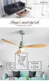 <b>BOTIMI Nordic</b> Wooden 52 Inch <b>LED Ceiling</b> Fan For Living Room ...