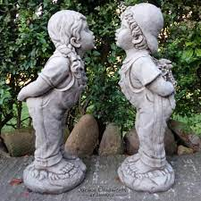 large jack and jill hand cast stone