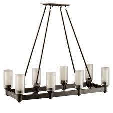 circolo chandelier linear 8 light shown in olde bronze by kichler lighting