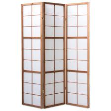Paravent Raumteiler 3 Fach Holz Tabak Trennwand Shoji Sichtschutz