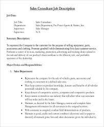 9 Sales Consultant Job Description Samples Sample Templates