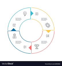 Circular Chart Diagram With 4 Steps Options