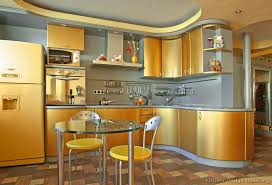Modern Gold Kitchen with Curved Cabinets (1 of 2)