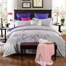 grey and white magnolia embroidery egyptian cotton bedding sets bed linen queen king size duvet cover set bed sheet crib bedding set bedding sets