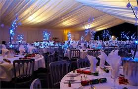 Nottingham Village Christmas Party NG9- Christmas dinner party set out  banqueting style with festive decorations