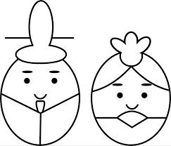 ひな祭りのかわいいフリーイラスト簡単な描き方五色 雛人形五月人形