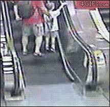 wheelchair escalator gif. wheelchair vs. escalator. who will win? escalator gif h