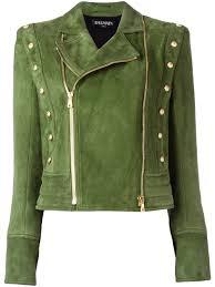 green cotton oned detail biker jacket from balmain women jackets balmain sweater on