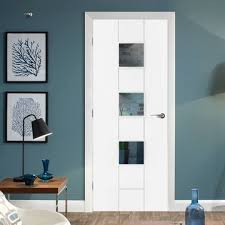 office doors interior. Messina White Primed Flush Door With Clear Safety Glass Office Doors Interior