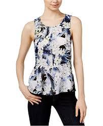 Kensie Clothing Size Chart Kensie Womens Tropical Blues Top Ks6u4017