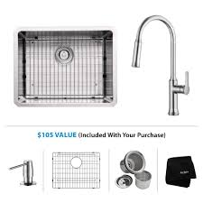Kraus 23 Undermount Single Bowl 16 Gauge Ss Kitchen Sink W Pull