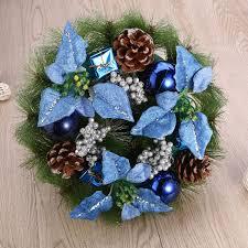 Pretyzoom Weihnachtskranz Künstliche Tannenzapfen Blumen Kugel Holly Berry Tür Fenster Baum Weihnachtsdeko 30cm Blau