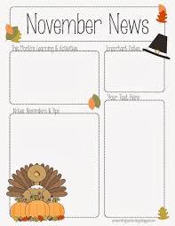 Monthly Newsletter Template For Teachers November Newsletter For Preschool Pre K Kindergarten And All