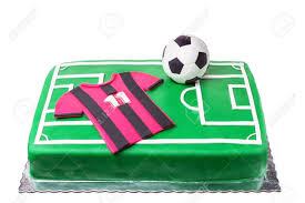 Birthday Cake For Football Player A Football Field And A T Shirt
