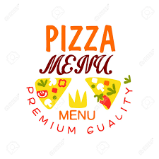 Menu Typography Design Flat Vector Typography Design With Vegetable Pizza Slices Emblem