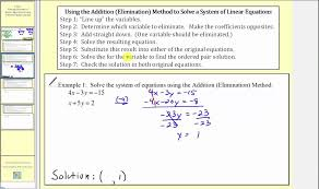 solving systems of linear equations using addition elimination l12 3