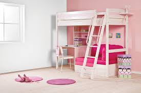 bedroom white wooden bunk bed with pink wooden desk and shelves plus white wooden stairs