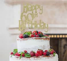 Happy 60th Birthday Cake Topper Glitter Card Lissielou