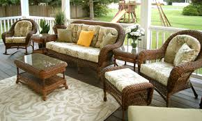 brown weather wicker patio lounge set   piece set in cappaccino brown stain includes rocker  end tables