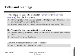 writing for computer science style specifics cho ho gi gnu gnu oslabwriting for computer science 3 iuml130sect titles of papers and sections should be concise