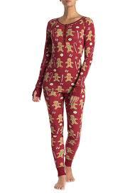 Munki Munki Red Gingerbread Print Pajama 2 Piece Set Hautelook