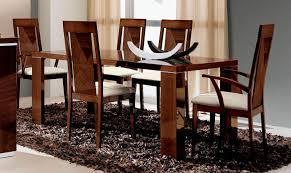 esf alf capri high gloss dark walnut dining room set 7 pcs made in italy
