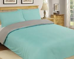 microfibre duvet cover set king size grey aqua reversible