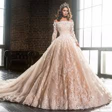 discount luxury champagne boat neck lace modest wedding dresses